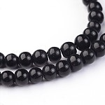 Glass Round Beads Strands, Black, 4x3mm, Hole: 1mm; about 99pcs/strand, 11.8