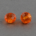 Handmade Glass Beads, Faceted Rondelle, OrangeRed, 10x7mm, Hole: 1mm; about 70~72pcs/strand