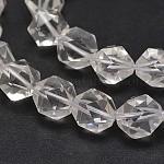 多面カット天然水晶クリスタル宝石ビーズ連売り, スターカットラウンドビーズ, 14mm, 穴:2mm、約14個/連, 8