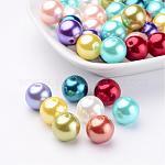 Abalorios redondas de abalorios de imitación de plástico ABS, color mezclado, 12mm, agujero: 2 mm