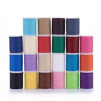 Cordon de polyester ciré, cordon torsadé, couleur mixte, 1 mm; environ 11 m/rouleau