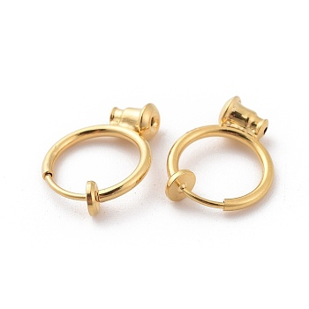 Brass Clip-on Hoop Earrings, For Non-pierced Ears, with Spring Findings and Ear Nut, Real 18K Gold Plated, 18x13x4.5mm, Hole: 0.6mm
