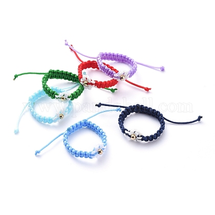 Adjustable Nylon Cord Braided Bead Rings RJEW-JR00303-1