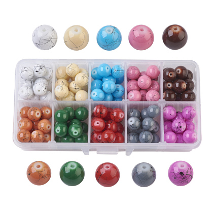 Drawbench Baking Painted Glass Beads GLAD-JP0001-02-10mm-1
