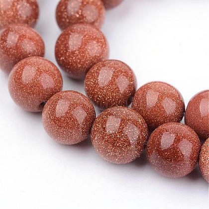 Chapelets de perles en goldstone synthétiqueG-Q462-6mm-27-1
