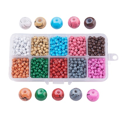 Drawbench Baking Painted Glass Beads GLAD-JP0001-02-4mm-1