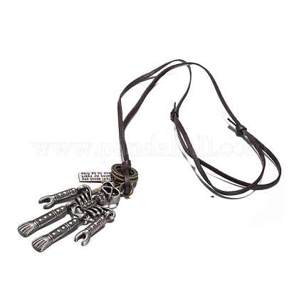 Adjustable Men's Zinc Alloy Pendant and Leather Cord Lariat NecklacesNJEW-BB15999-1