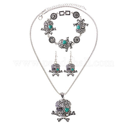 Pirate Style Skull Alloy Turquoise Jewelry Sets SJEW-N0001-024-1