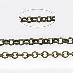 Паяные латунные цепи Роло, отрыгивающая цепь, с катушкой, античная бронза, 2x0.5 мм; около 100 м / рулон