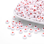 Flat Round Acrylic Beads, White with Coral Heart, Nice for Mothers' Bracelet Making, Size: about 7mm in diameter, 3.5mm thick, hole: 1mm, about 3600pcs/500g