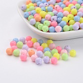 Round Solid Color Opaque Acrylic Beads, Mixed Color, 6mm, Hole: 2mm