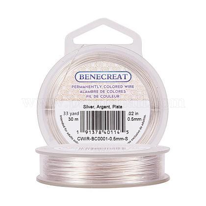 BENECREAT 24-Gauge Tarnish Resistant Silver Coil WireCWIR-BC0001-0.5mm-S-1