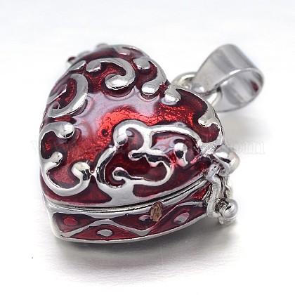 Esmaltado corazón estante chapado en oro blanco latón oración caja colgantesKK-L101-01A-1
