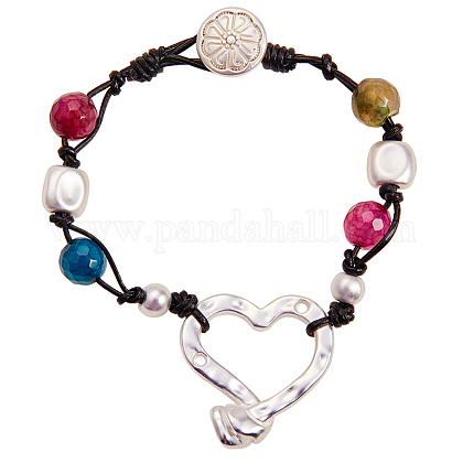 Alloy Beaded Bracelets BJEW-Q695-30MS-NR-1