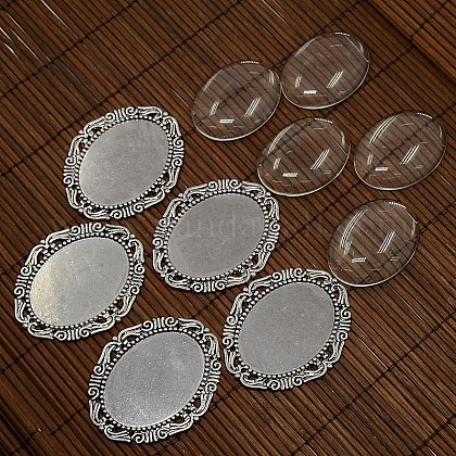 40x30mm Clear Oval Domed Glass Cabochon Cover for DIY Photo Alloy Cabochon MakingDIY-X0112-AS-NF-1