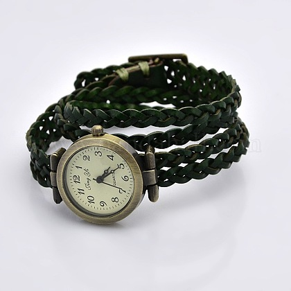 Fashionable Wrap Style Braided Leather Arabic Numerals Watch BraceletsWACH-G013-07-1