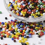 8/0 Opaque Colours Round Glass Seed Beads, Mixed Color, 2.5~3.5x2~2.5mm, Hole: 0.8~1mm; about 1300pcs/bag