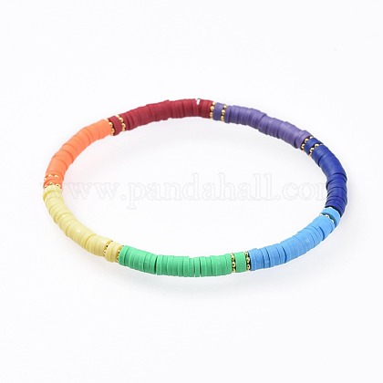 Handmade Polymer Clay Stretch BraceletsBJEW-JB04635-1