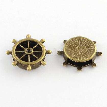 Тибетский стиль сеттинги руля сплав горный хрусталь слайд очарованиеX-TIBEB-Q064-65AB-NR-1