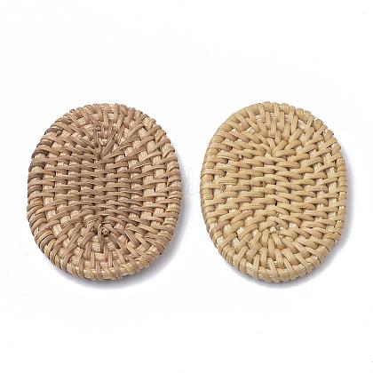 Handmade Reed Cane/Rattan Woven BeadsX-WOVE-Q075-05-1