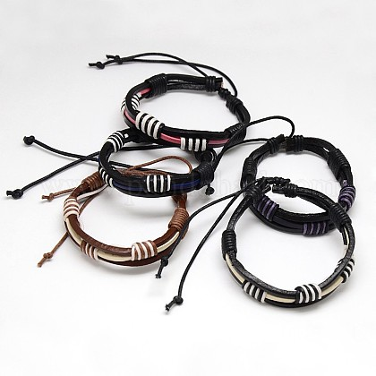 Trendy Unisex Casual Style Waxed Cord and Leather BraceletsBJEW-L298-M-1