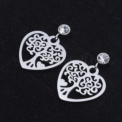 201 Stainless Steel Dangle Stud Earrings EJEW-T008-JN738-1