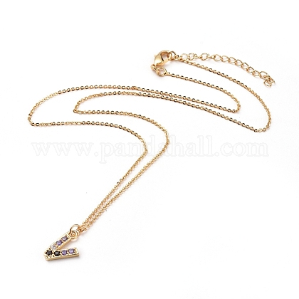 Letter Brass Micro Pave Cubic Zirconia Initial Pendants Necklaces NJEW-JN02585-20-1