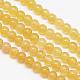 Hebras de cuentas redondas de calcita de miel natural, 6mm, agujero: 1 mm; aproximamente 66 unidades / cadena, 15.7 pulgada