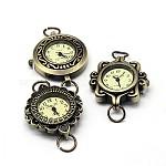 Componentes del reloj la cabeza la cara del reloj reloj de la aleación, estilo mezclado, Bronce antiguo, 27~32x28~34x7~8mm, agujero: 6~7 mm