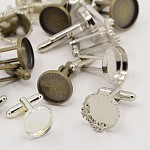 Mixed Brass Cufflinks Findings Cabochon Settings, Mixed Color, Tray: 12~16mm; 18~19.5x14~17mm