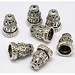 Латуни Будды бисера, конус, античное серебро, 16x12 мм, отверстие : 2 мм