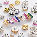 Brass Rhinestone Spacer Beads, Grade B, Rondelle, Mixed Style, Mixed Color, 5~8x2.5~3.5mm, Hole: 1mm