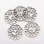 Tibetan Style Alloy Pendants/Links, Lead Free and Cadmium Free, Antique Silver, Flat Round with Peace Sign, 30x2mm