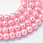 焼付塗装ガラスパールラウンドビーズ連売り, ピンク, 4~5mm, 穴:1mm、約210個/連, 31.4