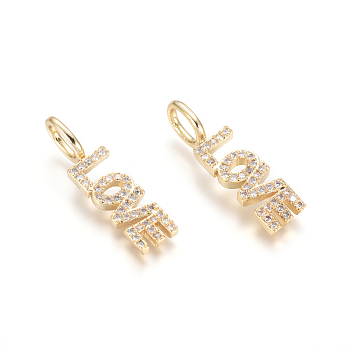 Brass Micro Pave Clear Cubic Zirconia Pendants, Word Love, for Valentine's Day, Golden, 24x6.5x2.5mm, Hole: 3.5x5.5mm