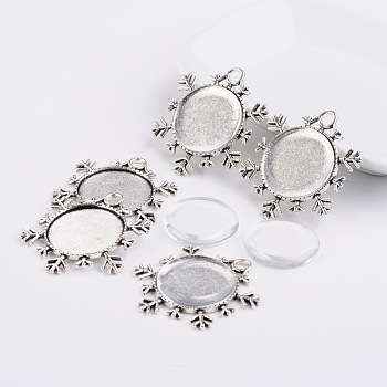 25x4mm Dome Transparent Glass Cabochons and Christmas Ornaments Alloy Snowflake Pendant Cabochon Settings DIY, Antique Silver, Pendant: 43x38x2mm, Hole: 4mm, Tray: 25mm