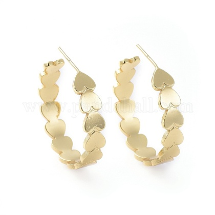 Brass Stud EarringsEJEW-L234-15G-1