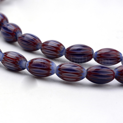 Handmade Chevron Lampwork Beads StrandsX-LAMP-S187-01-1