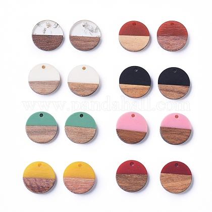Colgantes redondos planos de resina y madera de nogalRESI-X0001-24-1