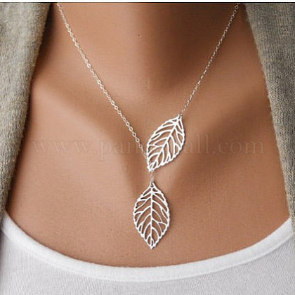 Simple Hollow Leaf Alloy Lariat Necklaces NJEW-N0052-002A-1