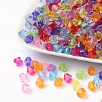 Faceted Bicone Transparent Acrylic Beads, Dyed, Mixed Color, 8mm, Hole: 1mm; about 1800pcs/500g
