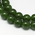 Natural TaiWan Jade Bead Strands, Dyed, Round, Dark Green, 6mm, Hole: 1mm, about 63pcs/strand, 15.5 inches