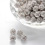 Pave disco бусины, Бусины со стразами, полимерная глина , класс А, круглые, кристалл, PP12 (1.8~1.9 мм); 8мм, отверстие : 1 мм