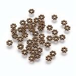 チベット風のスペーサー, 鉛フリー&カドミウムフリー&ニッケルフリー, 花, アンティークブロンズカラー, サイズ:直径約4mm, 厚さ1mm, 穴:1mm