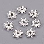 チベット風合金スペーサービーズ, デイジー, 銀色のメッキ, 8x2mm, 穴:1.5mm