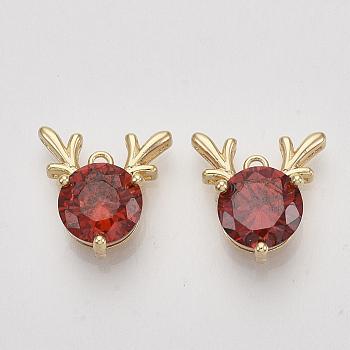 Latón charms de circonio cúbico, reno de navidad / ciervo, rojo, sin níquel, real 18k chapado en oro, 13x13x6mm, agujero: 1.2 mm