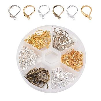 Fornituras de pendiente de latón, con bucle, plata y platino y bronce dorado y antiguo, 15x10mm, agujero: 1 mm, 20 unidades / compartimiento, 120 unidades / caja