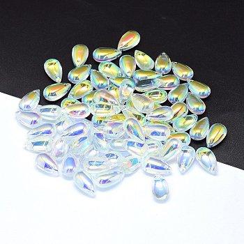 クリアガラスチャーム  ドロップ  ABカラー  クリアAB  14x8x5mm  穴:1.2mm