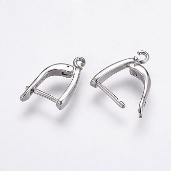 Brass Hoop Earrings Findings, Real Platinum Plated, 19.5x13x3mm, Hole: 1.5mm; Pin: 1mm