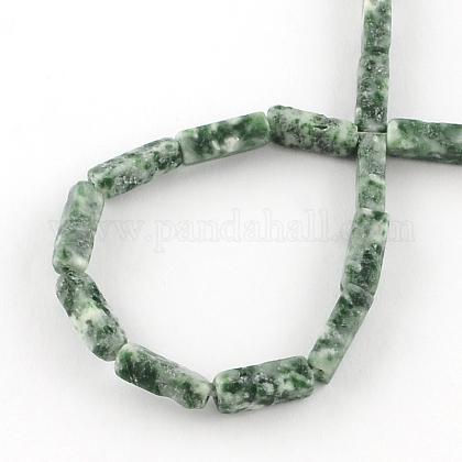 直方体天然の緑のスポット宝石ビーズ連売りG-R299-08-1
